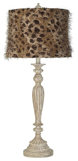 Traditional Leopard Shag White Fluted Table Lamp traditional-table-lamps