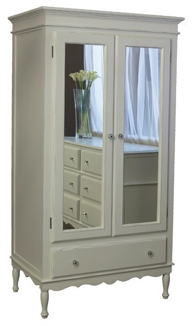 Newport Cottages Celine Armoire with Mirrored Doors traditional-armoires-and-wardrobes
