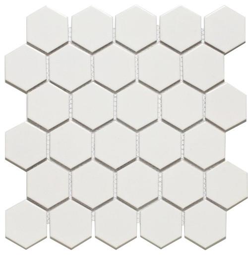 Hexagon Mosaics White Ceramic 2 Inch Glazed