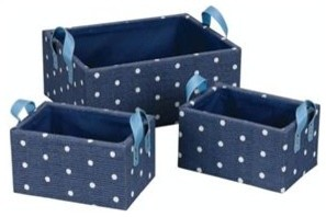 Whitney Design Paper Baskets In Royal Dots contemporary-baskets