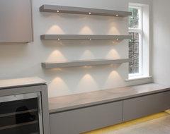 kitchen rustic wooden floating shelves with lighting. Black Bedroom Furniture Sets. Home Design Ideas