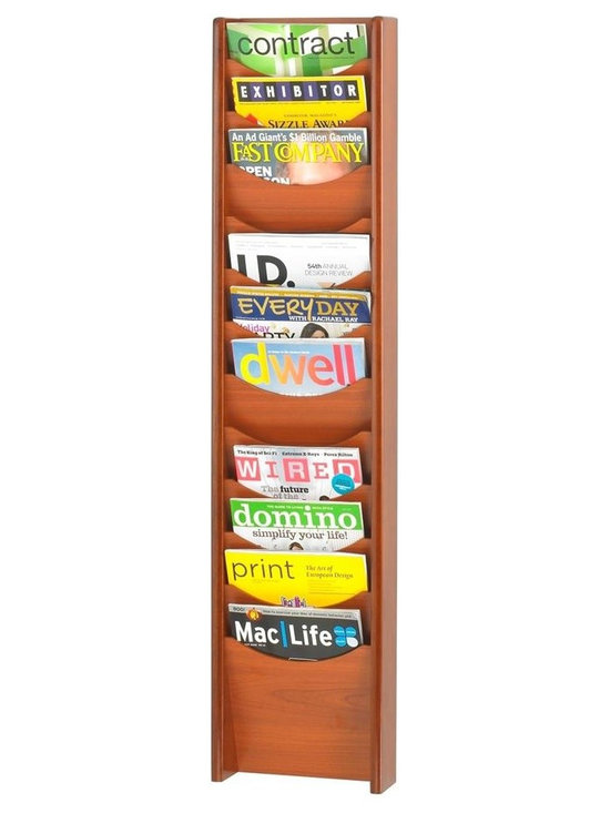 Safco - Wood Magazine Rack w 12 Pockets in Cherry Finish - Twelve total pockets allow you to display and organize magazines, literature, newspapers and much more. The wood rack has a cherry finish and can be mounted to any wall. You'll find it an essential ingredient of your professional-looking workspace, retail area and other places. Includes mounting hardware. Twelve compartments. Scoop front pockets. Wood stain finish. Made from hardboard and wood. No assembly required. Compartment: 9.5 in. W x 0.75 in. D x 11 in. H. 11.25 in. W x 3.75 in. D x 48.75 in. H (14 lbs.)Expose the natural beauty of your literature, brochures, pamphlets and magazines. Whether it's for your guests in the reception area, waiting room, conference room, meeting areas, trade show booth, the lobby, foyer or entrance way or for your internal employees at a print station, lounge area, lunch or break room, mail room, supply room, classroom, media center, library or even your office, every piece of literature and magazine will have a perfect place to be displayed.