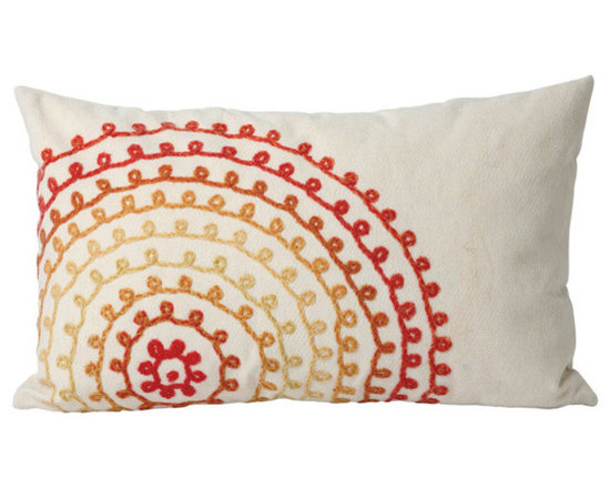 """Trans-Ocean Outdoor Pillows - Trans-Ocean Liora Manne Ombre Threads Warm - 12"""" x 20"""" - Designer Liora Manne's newest line of toss pillows are made using a unique, patented Lamontage process combining handmade artistry with high tech processing. The 100% polyester microfibers are intricately structured by hand and then mechanically interlocked by needle-punching to create non-woven textiles that resemble felt. The 100% polyester microfiber results in an extra-soft hand with unsurpassed durability."""
