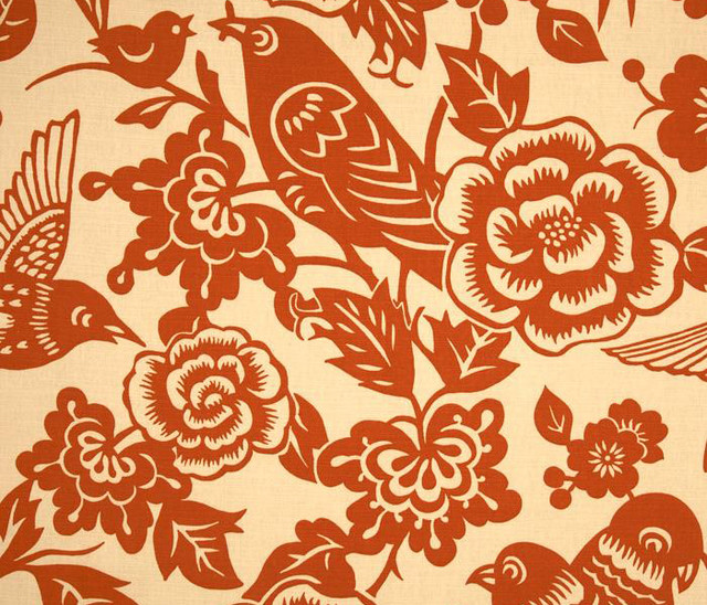 Aviary Fabric in Tangerine  upholstery fabric