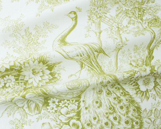 Peacock Toile Fabric in Pistachio Green - Peacock Toile Fabric in Pistachio (Green): This floral designer fabric is a classic toile featuring a beautiful green peacock and floral motif. A luxurious Italian 100% cotton fabric, this discount toile has a width of 55″ width and a repeat of 36″ H and 21″ V. This fabric will add a classic elegance to any interior design and is perfect for drapery, residential or light contract upholstery, and decorative accents. Peacock Toile is also available in Cerulean, Mulberry, and Sepia.  (Abrasion and Fire Rating are available upon request for substantial orders.)