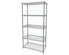 Metro Shelving Unit - 48x18x74 Chrome industrial-garage-and-tool-storage