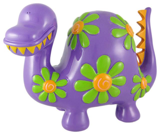 Large Flowered Purple Dinosaur Piggy Bank Coin Money ...