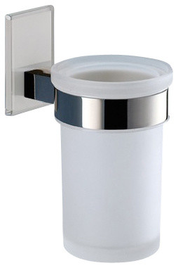 Wall Mounted Frosted Glass Toothbrush Holder With White Mounting contemporary-toothbrush-holders