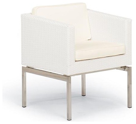 Metropolitan Set of Two Dining Outdoor Arm Chairs with Cushions in White Finish modern-outdoor-lounge-chairs