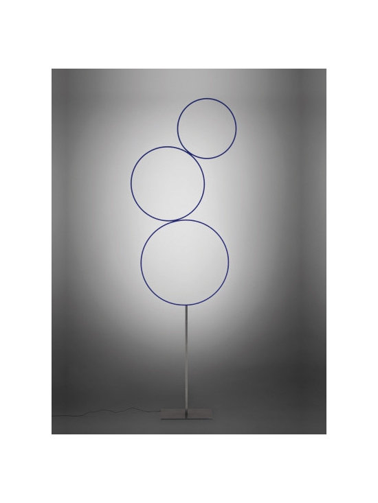Catellani & Smith - Sorry Giotto Floor Lamp - Sorry Giotta Standing Lamp is made from a rough iron base and structure and blue hand painted copper rings. Sixteen 1-watt, 120 volt LED lamps are included. Dimensions: 23.6W x 87H x 23.6D.