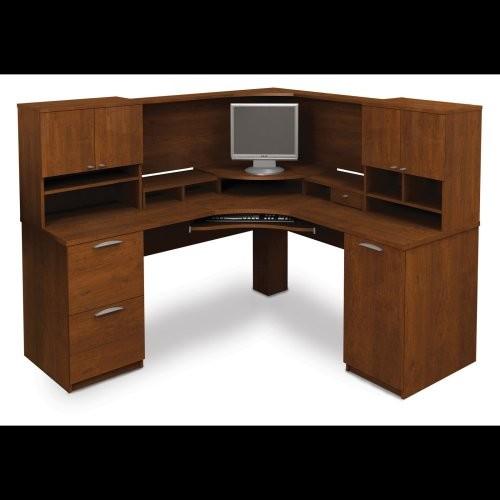 Bestar Elite Corner Workstation Kit - Tuscany Brown contemporary-desks-and-hutches