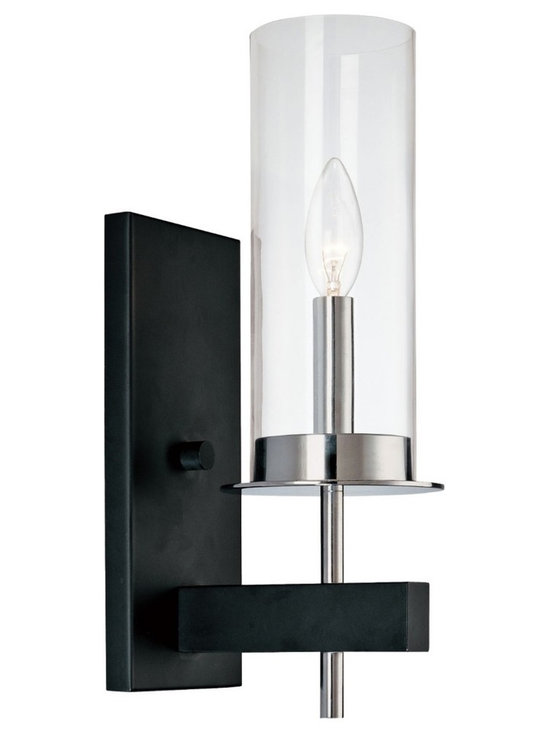 "Sonneman - Sonneman Tuxedo 14 1/2"" High One Light Wall Sconce - The clear glass shade cylinder encases a candelabra type bulb. The finish is complemented by a contemporary black arm and wall mount. This design is striking in any room or hallway. Polished chrome and black finish. Clear glass. Takes one 60 watt candelabra bulb. Wall plate is 10"" high. 4 1/2"" high. 5"" wide. Extends 6 1/2"" from wall.  Polished chrome and black finish.  Clear glass.  Takes one 60 watt candelabra bulb.  Wall plate is 10"" high.  14 1/2"" high.  5"" wide.  Extends 6 1/2"" from wall."