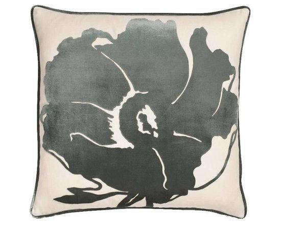 Matilija Poppy Kelp Velvet Pillow -
