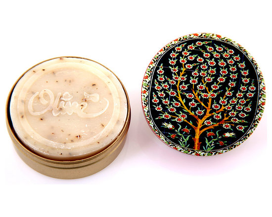 Turkish Hammam - Turkish olive soap in dark blue colored tin box adorned with Tree of Life design. Natural and healthy for all types of skins and hair.