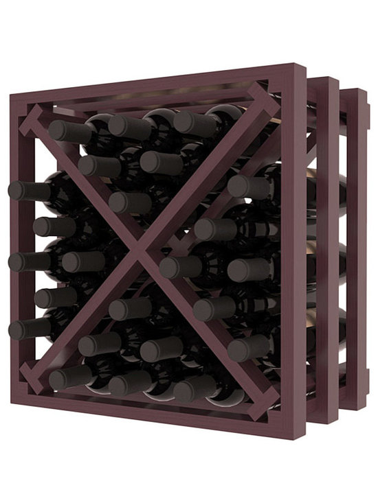 Lattice Stacking X Wine Cube in Pine with Burgundy Stain + Satin Finish - Designed to stack one on top of the other for space-saving wine storage our stacking cubes are ideal for an expanding collection. Use as a stand alone rack in your kitchen or living space or pair with the 16-Bottle Cubicle Wine Rack and/or the Stemware Rack Cube for flexible storage.