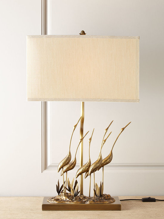 """Horchow - Gathering of Cranes Lamp - Gathering of Cranes LampDetailsEXCLUSIVELY OURS.Lamp handcrafted of steel.Hand-plated antiqued brass finish.Linen shade.Uses one 60-watt bulb.18""""W x 9.875""""D x 29.25""""T.Imported."""