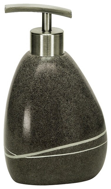 Unique stone soap dispenser 10oz dark grey modern for Dark grey bathroom accessories