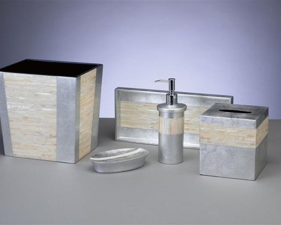 Bathroom Accessories - Create a luxe, spa-like environment in your bathroom with this unbelievably beautiful bathroom set from J. Fleet Designs. Utilizing the finest materials like Mother of Pearl and silver leaf, each piece is coordinates perfectly to create a harmonious set that will add sophistication and elegance to your master bath, guest bathroom or powder room.