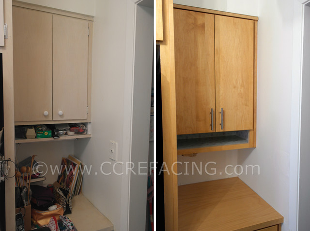 "San Francisco Kitchen Reface with solid wood ""slab"" doors."