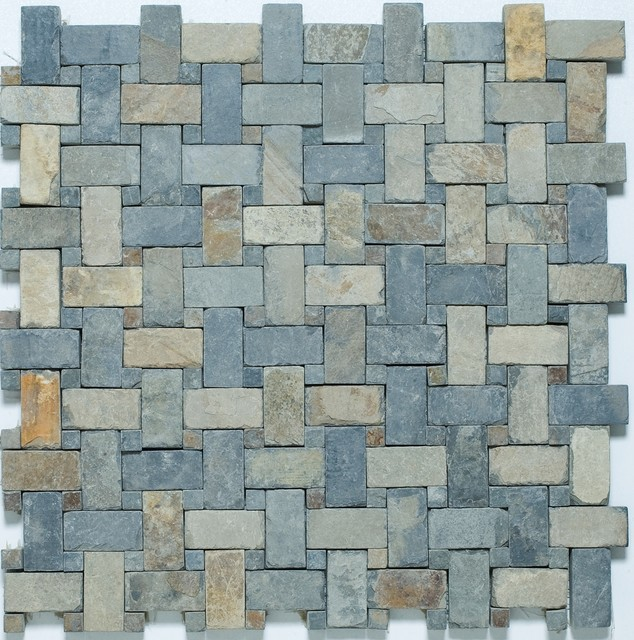 Slate Basketweave Mosaic Tiles Contemporary Wall And