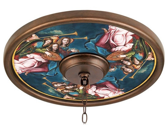 """Lamps Plus - Themed Angel Choir Giclee 16"""" Wide Bronze Ceiling Medallion - This giclee pattern ceiling medallion transforms your existing fixture into a work of art. Its custom printed pattern on canvas is a reproduction of an artisan hand-painting. The giclee canvas is mounted on a 16"""" wide Valencia bronze finish medallion which is lightweight and installs easily to your ceiling with multi-purpose adhesive (not included). Polypropylene construction. Canopy and chain not included. Please note this is a custom made-to-order piece; please allow 7 to 10 days for your medallion to be created. Valencia bronze finish. Angel Choir pattern. Polypropylene construction. Giclee canvas. Lightweight and easy to install. Adhesive not included. 16"""" wide. 4"""" center opening.  Valencia bronze finish.   Angel Choir pattern.   Polypropylene construction.   Giclee canvas.   Lightweight and easy to install.   Adhesive not included.   16"""" wide.   4"""" center opening."""