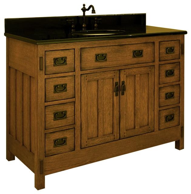 48 american craftsman single vanity traditional Bathroom vanity storage organization