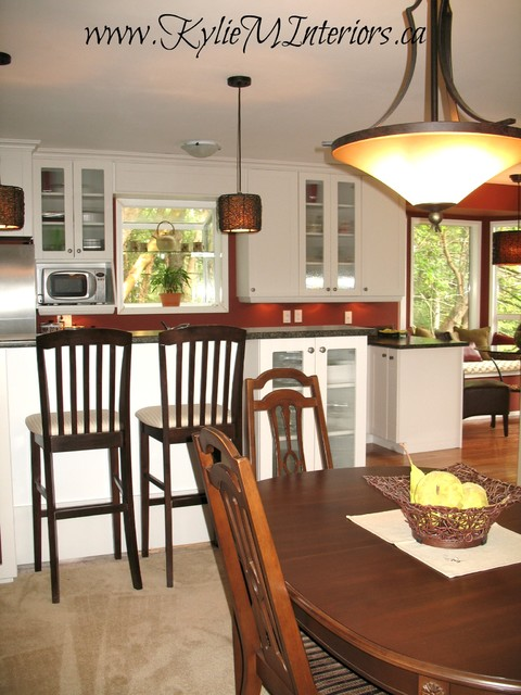 Kitchen Remodel - White, Brick Red and Green Accents traditional-kitchen