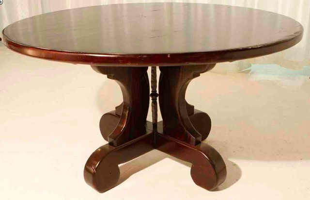 lourdes trestle round dining table built in reclaimed wood eclectic dining tables los. Black Bedroom Furniture Sets. Home Design Ideas