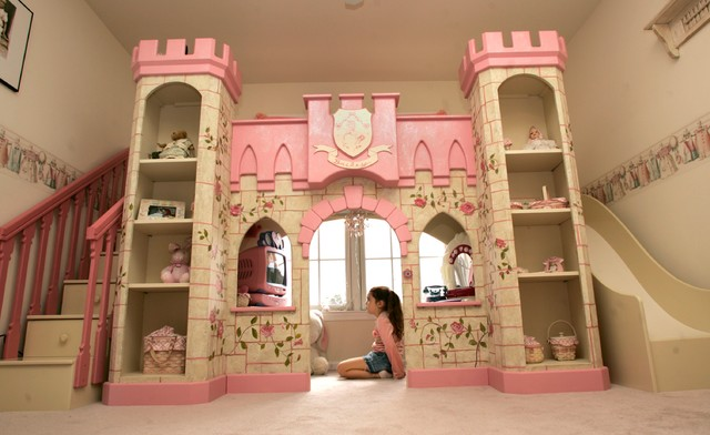 Girls Princess Playhouse Bed with Slide & Steps - beds - by ...