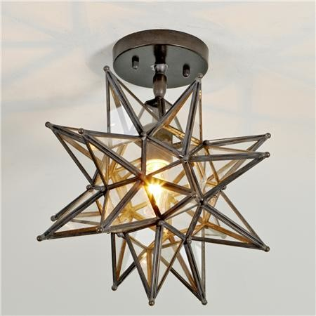 Moravian Star Ceiling Light, Blackened Bronze mediterranean-flush-mount-ceiling-lighting