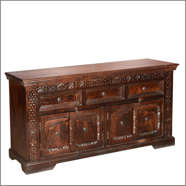 Empire Indian Rosewood Hand Carved 4 Door Sideboard Buffet Cabinet - Rustic - Buffets And ...