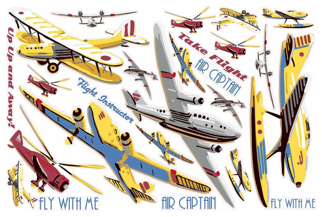 Vintage Planes Take Flight Large Wall Accent Sticker Set contemporary-wall-decals