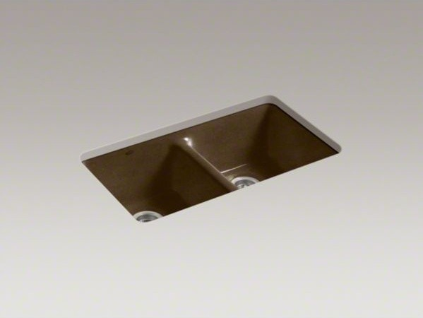 KOHLER Anthem(R) under-mount double-equal bowl kitchen sink with 5 oversize fauc contemporary-kitchen-sinks