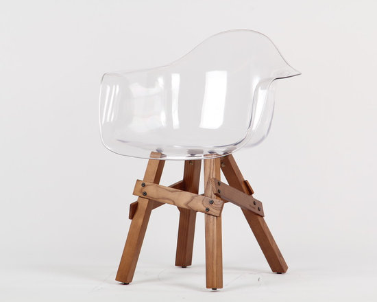 Icon Armchair by Kubikoff - Icon Armchair features polycarbonate shell in clear transparent and walnut base or white with natural base. Available with or without optional seat pads (sold separately).