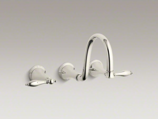 KOHLER Finial(R) wall-mount bathroom sink faucet trim with lever handles and 9-3 contemporary-bathroom-sink-faucets