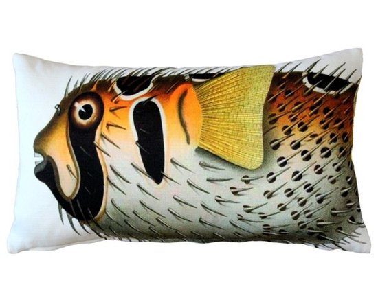 Pillow Decor - Pillow Decor - Porcupine fish Fish Pillow 12 x 20 - This double sided Porcupine fish decorative pillow is printed on both sides with the head and body of the fish on the front and the tail on the back. Printed on an indoor outdoor spun polyester fabric.