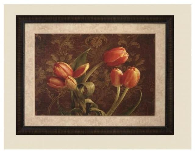 Fleur De Lis Tulips Framed Art Transitional Artwork