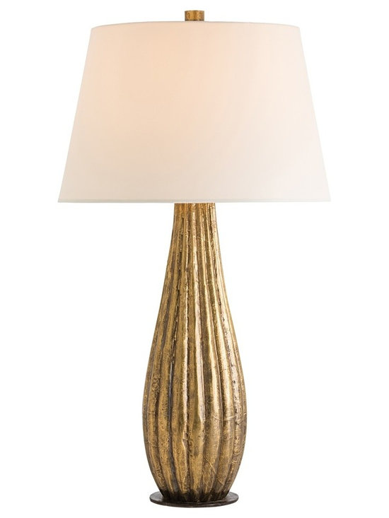 Arteriors Home - Loretta Table Lamp - Loretta Table Lamp features solid carved wood clad in Antique Brass and topped with an Ivory microfiber shade. One 150 watt, 120 volt A19 3-Way type medium base incandescent bulb is required, but not included. 17 inch width x 31 inch height.