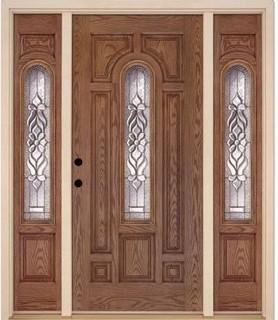 Feather River Doors Door. Lakewood Center Arch Medium Oak Fiberglass Entry Door - Contemporary ...
