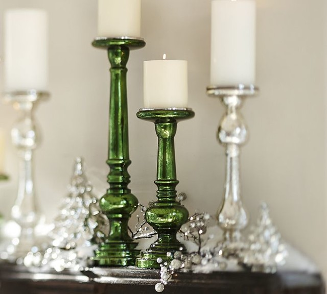 Everett Green Mercury Glass Pillar Holders Contemporary