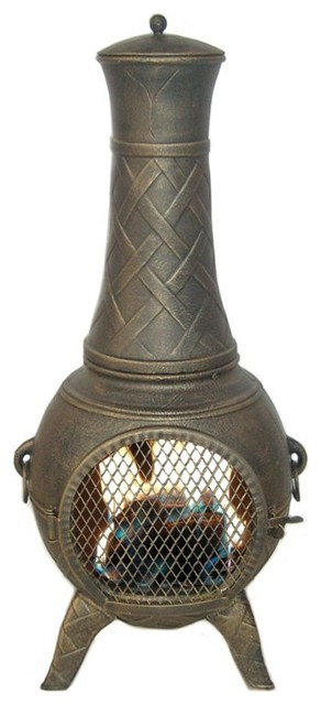 Deeco Western Basket Weave Jr. Chimnea Multicolor - DM-6035J-AA contemporary-fire-pits