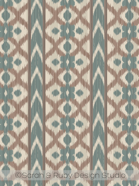 chevron stripe and floral ikat