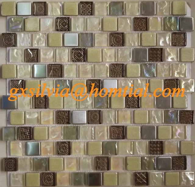 Chalkboard glass stone mosaic contemporary-tile