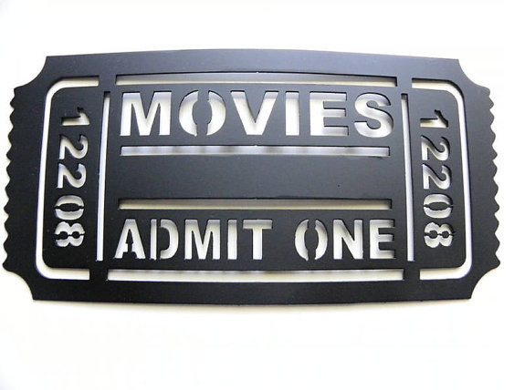 Home Theater Decor Metal Wall Art ~ Home theater decor movie ticket metal wall art by