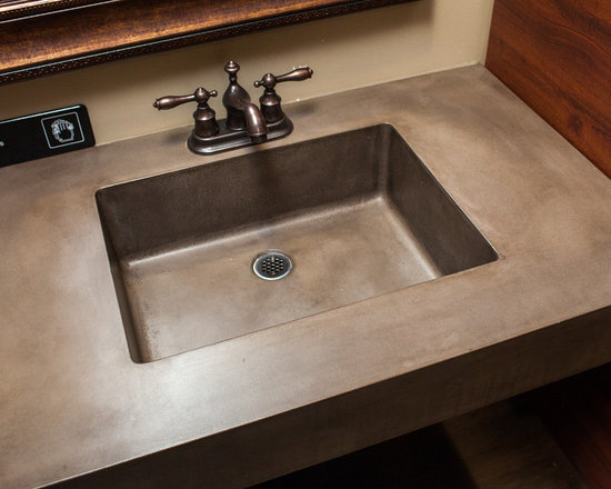 Concrete Bathrooms - commercial restaurant sink.  Photo by Andrew Pitzer