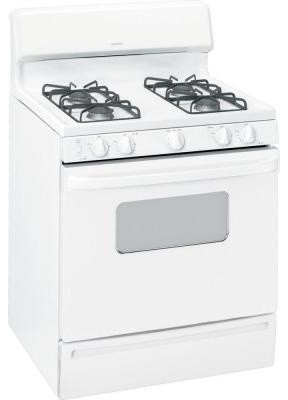 Hotpoint Range. 4.8 cu. ft. Gas Range in White on White RGB526DETWW contemporary-gas-ranges-and-electric-ranges