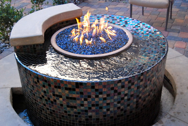 The allure of the flame traditional landscape other for Fire pit water feature combo