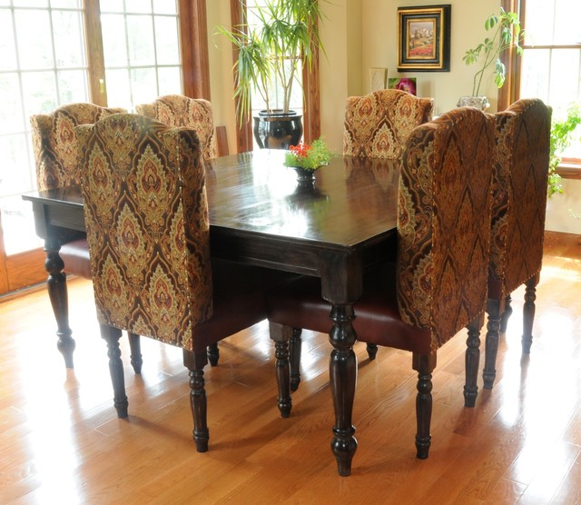 custom square dining table leather fabric upholstered parsons dining