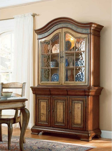 Hooker Furniture Vineyard 53-inch Glass Top Hutch (C) 478-75-901 transitional-buffets-and-sideboards