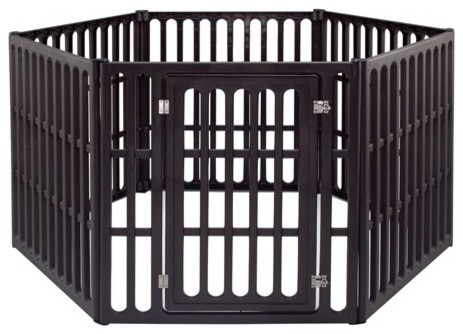 Extra large 6 panel indoor outdoor pet pen in brown for Xl indoor dog kennel